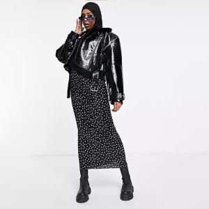 ASOS DESIGN plisse column maxi skirt in mono spot print