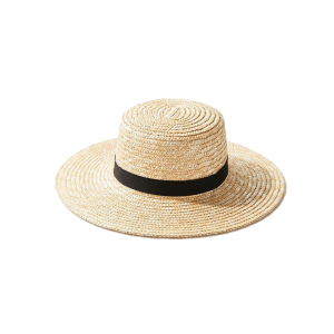 South Beach Exclusive straw boater hat with black ribbon and size adjuster