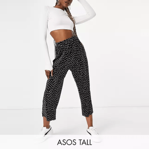 ASOS DESIGN Tall plisse culotte in mono polka dot