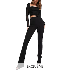 ASYOU ultra high waisted flared trouser with inside split in black
