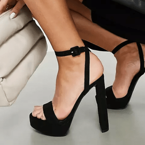 ASOS DESIGN Natasha platform barely there heeled sandals in black