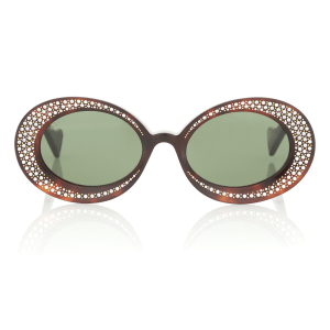 GUCCI Crystal-embellished oval sunglasses