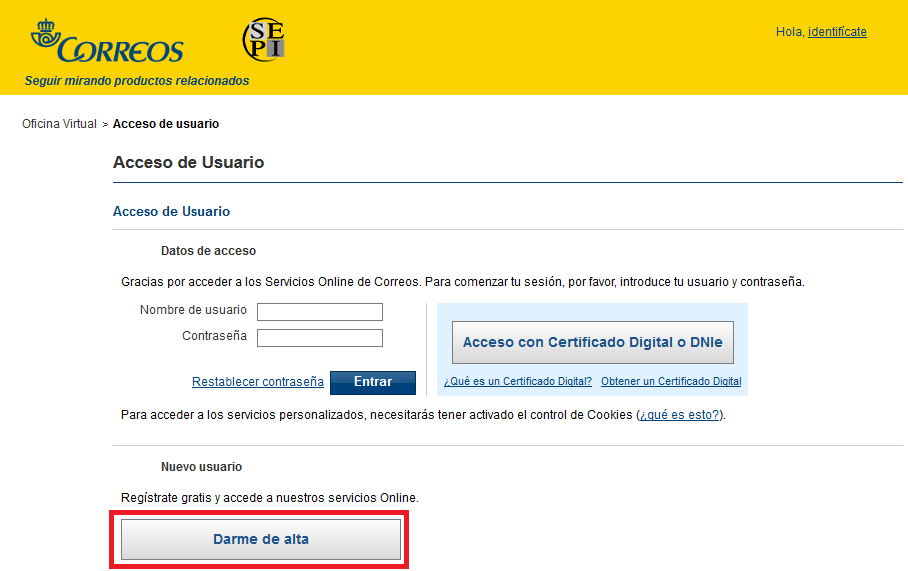 Adtpostales de correos como aportar la documentaci n for Oficina virtual correos