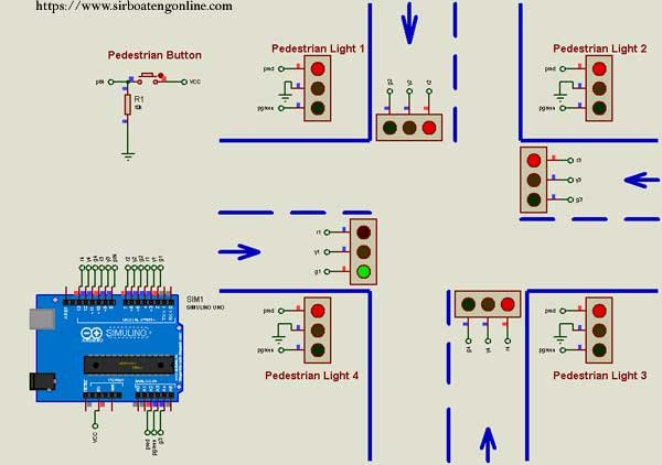 Arduino 4-Way Traffic System with Pedestrian button in Proteus