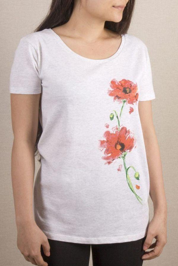 camiseta-ecologica-algodon organico-amapolas-mujer-blanca-sirem wild