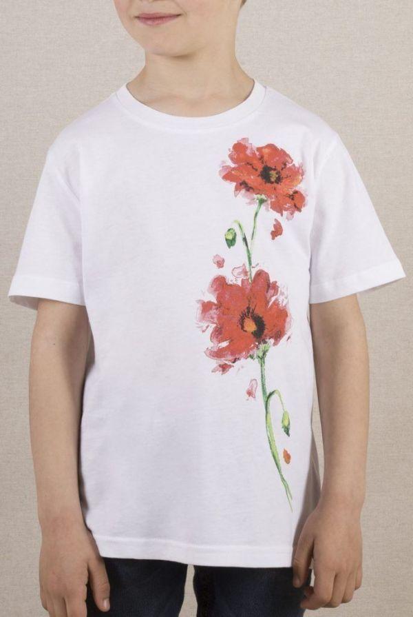camiseta-ecologica-algodon organico-amapolas-niño-niña-infantil-blanca-sirem wild