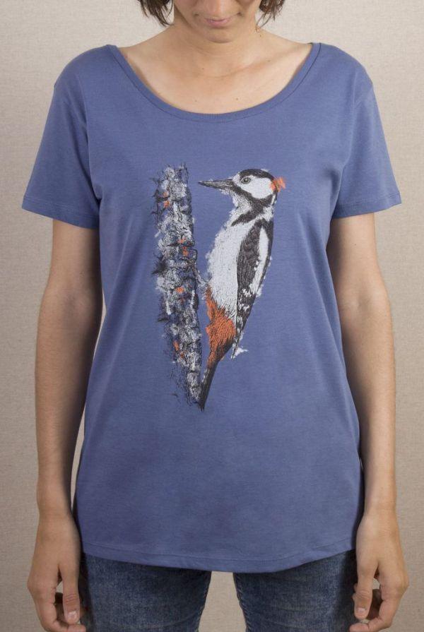 camiseta-ecologica-algodon organico-picapinos-mujer-azul-sirem wild