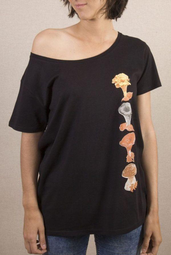 camiseta-ecologica-algodon organico-setas-mujer-negra-sirem wild