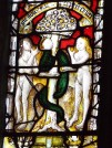 Image of mediaeval window showing Adam and Eve, St Anietus Church, St Neot Cornwall