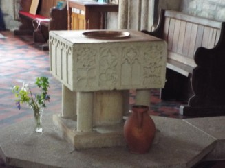 Image of font at St Anietus Church, St Neot Cornwall