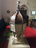 image of font at church of St Margaret of Antioch, Bygrave, Hertfordshire