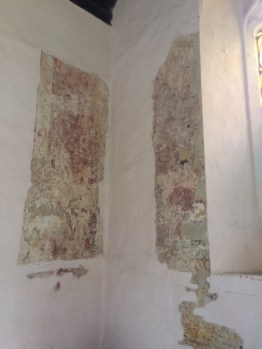 Image of faded wall paintings in church of St Margaret of Antioch, Bygrave, Hertfordshire