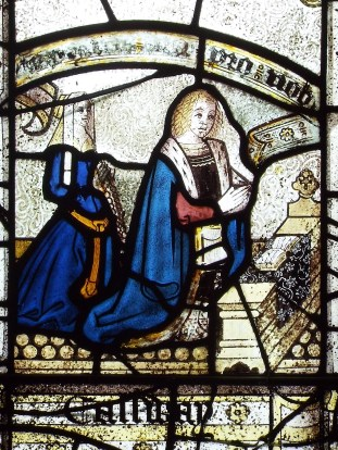 Image showing detail of couple praying, St Anietus Church, St Neot Cornwall