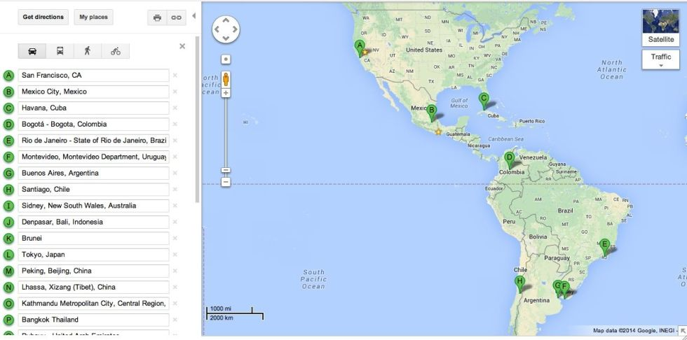 San Francisco, Mexico Df, La Habana, Bogota, Rio de Janeiro, Montevideo, Buenos Aires, Santiago de Chile.
