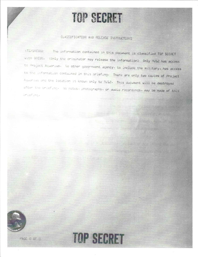 Project Aquarius Executive Correspondence, Pg. 0 of 9