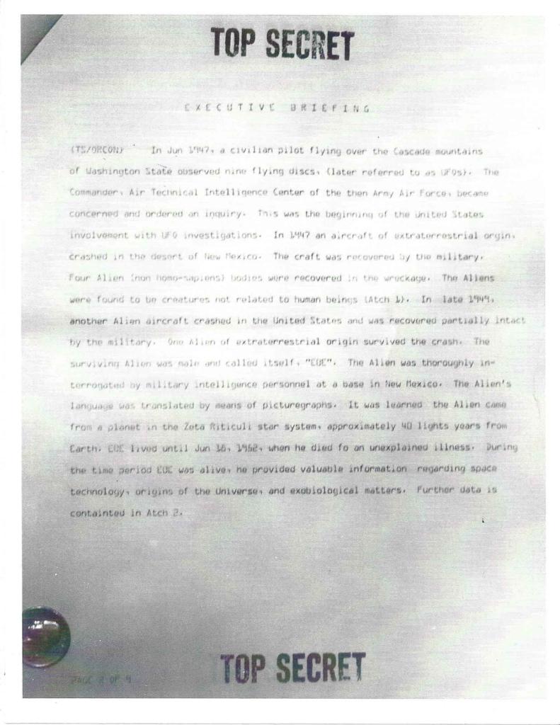 Project Aquarius Executive Correspondence, Pg. 1 of 9