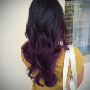 Purple-balyage-on-black-hairs