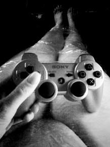 Wrapped in saran wrap while gaming =)
