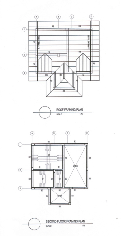 ST 02 second floor framing plan,roof framing plan