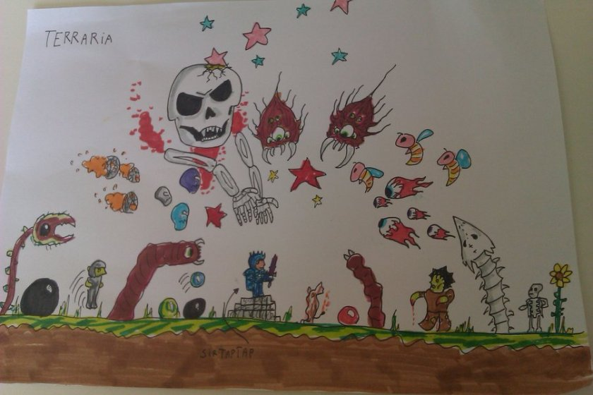 Bamseper's Terraria fan art of Sir TapTap. It features Sir TapTap in the best (at the time) armor in the game, fighting a goarde of basically every enemy in the game at once.