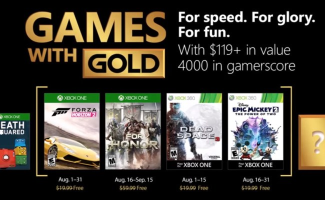 Xbox Live Games With Gold August 2018 Titles Revealed
