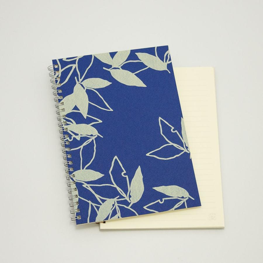 オーダーノート(A5)<br>葉模様×紺色