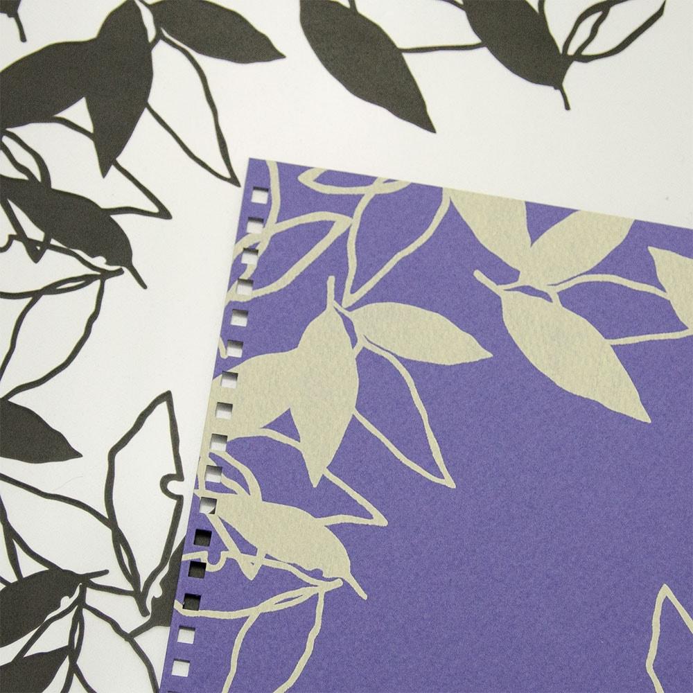 オーダーノート(A5)<br>葉模様×紫色イメージ5