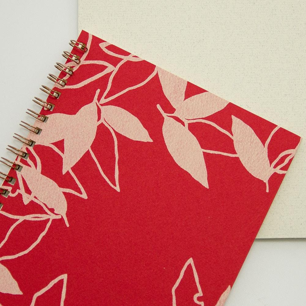 オーダーノート(A5)<br>葉模様×赤色イメージ4