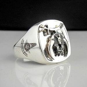 Shriner Bespoke Oxidized Emblem Masonic Ring