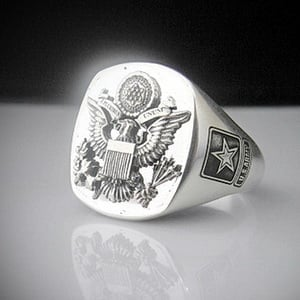 United States Army Eagle Bespoke Sterling Silver Ring