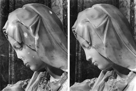 図4 1972年ミケランジェロ《ピエタ》の破壊された鼻部分 個人資料