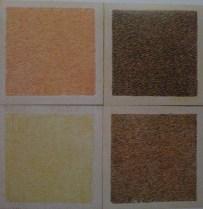 図3 アストラツィオーネ・クロマティカの行程:黄(左上)→黄と赤(右上)→黄と赤と緑  (左下)→黄と赤と緑と黒(右下) Casazza, Ornella.Il restauro pittorico, Firenze: Nardini, 1981, p. 70,