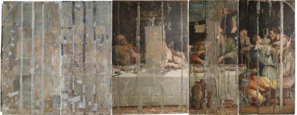 図4 ジョルジョ・ヴァザーリ《最後の晩餐》修復前の様子/国立貴石修復研究所アーカイヴ