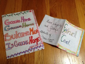 Farewell cards from Class 9 (left) and Class 8 (right) students.