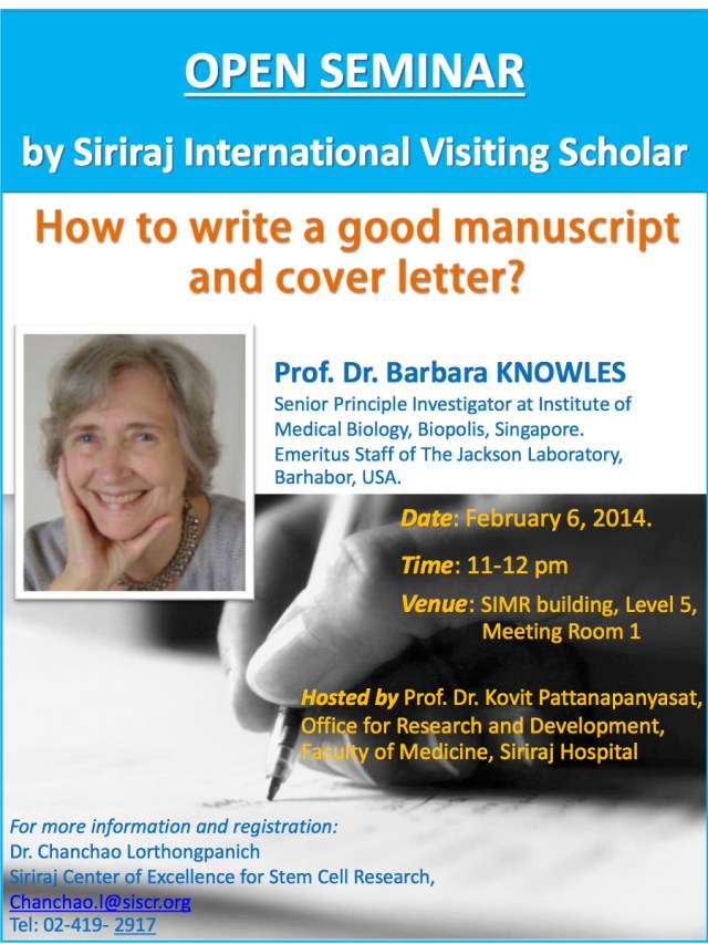 SiSCR – How to write a good manuscript and cover letterHow to