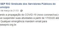 Considerando a propagação do COVID-19 (novo coronavírus) o SISEP RIO resolve suspender suas atividades a partir de 17/03/20 até 30/04/20. Qualquer emergência mandem email para siseprio@siseprio.org.br.