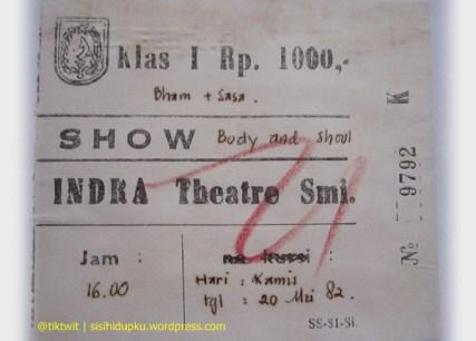 Potongan karcis bioskop Indra tahun 1982.
