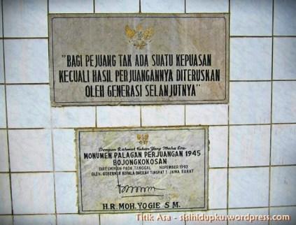 Prasasti pada Monumen Palagan Perjuangan Bojongkokosan