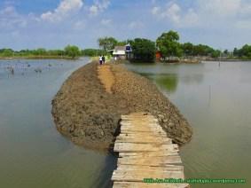 Jembatan kayu yang harus disebrangi.