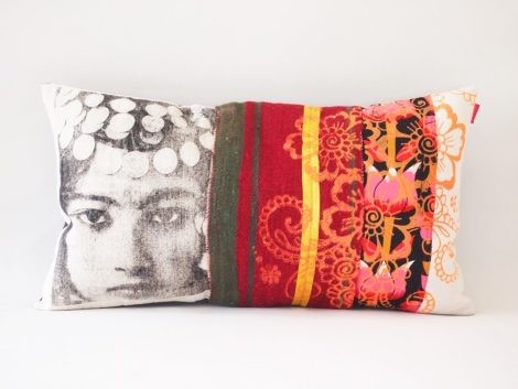 Coussin  Nejma Rouge et Orange – collection berbère – sissimorocco