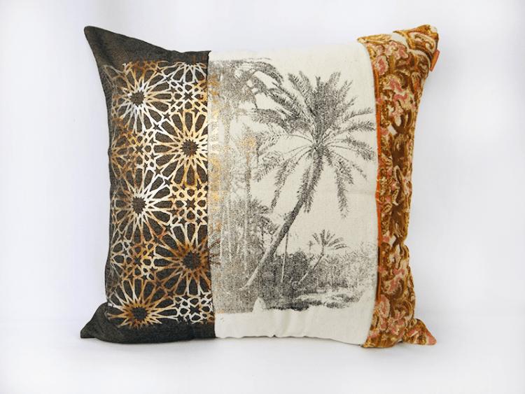 coussin-paysage-palmier-impression-serigraphie-tissus-velours-piece-unique