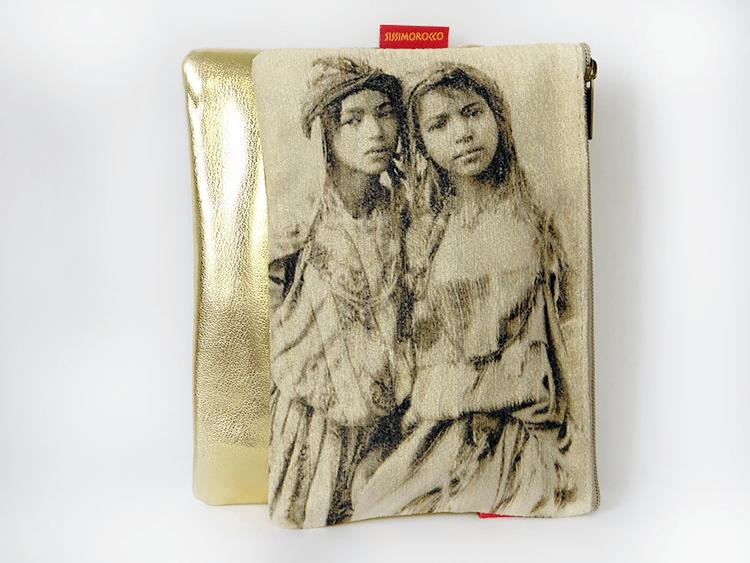 pochette 2 soeurs doré