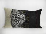 housse coussin serigraphie argent patchwork de tissus