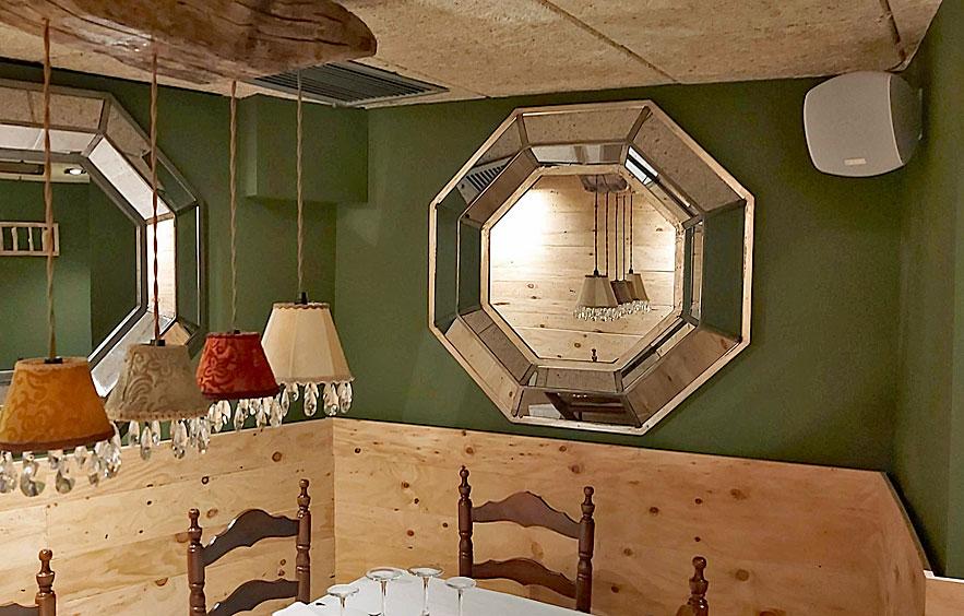 Salón privado con Sistema de sonido ecler instalado en restaurante Cal Cofa por Visual Planet