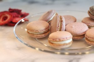 Strawberry Cheesecake Nut-free Macarons