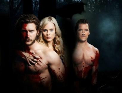 """Greyston Holt as Clayton Danvers, Laura Vandervoort as Elana Michaels, and Paul Greene as Phillip McAdams in """"Bitten'"""