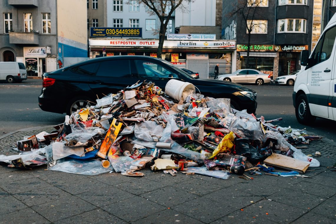 garbage piled in the city