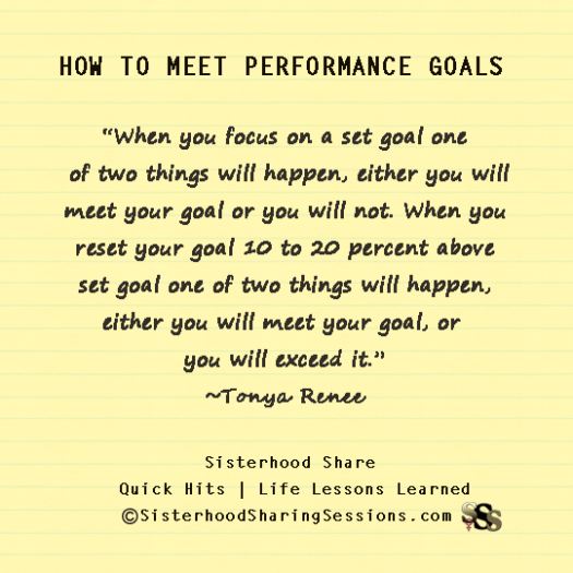 How To Meet Performance Goals-SisterhoodShare | Career And Business | Life Lessons Learned