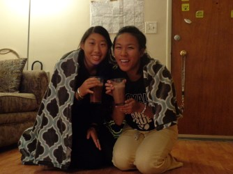Sister Gong and I drinking hot cocoa!! So happy