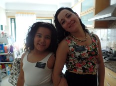 Fabiana with her mother, Dina Wearing Missionary Tags